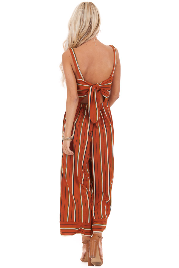 Rust Striped Wide Leg Sleeveless Jumpsuit with Back Tie back full body