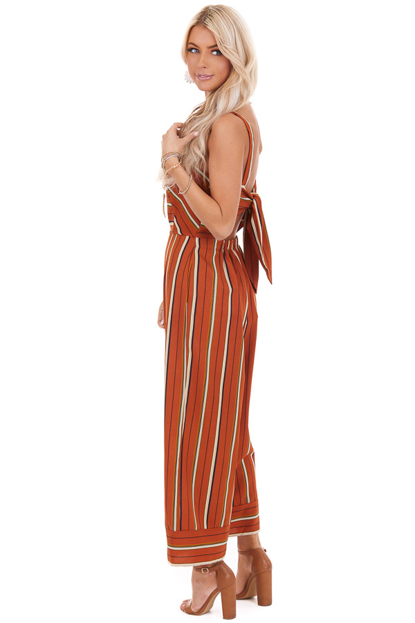 Rust Striped Wide Leg Sleeveless Jumpsuit with Back Tie side full body