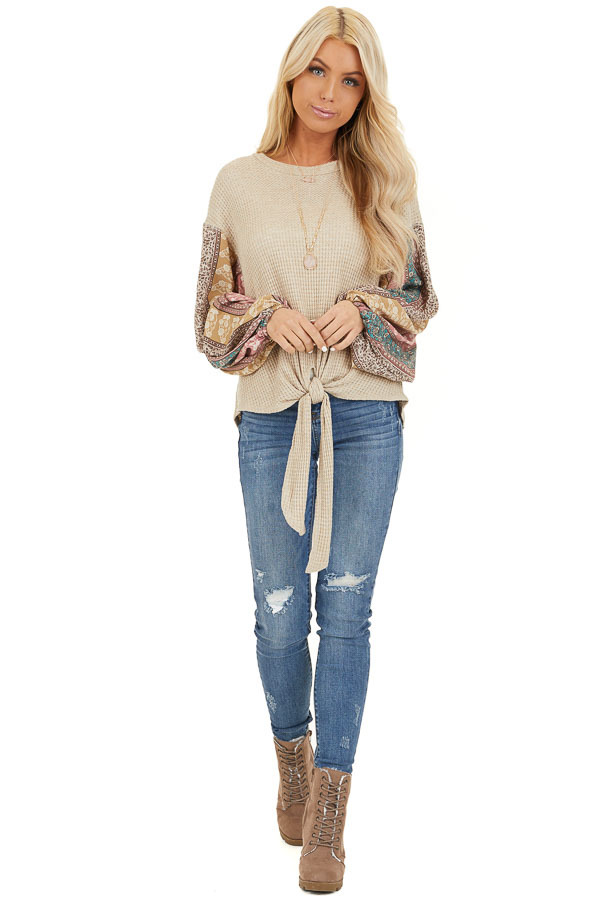 Oatmeal Long Sleeve Top with Contrast Floral Bubble Sleeves front full body