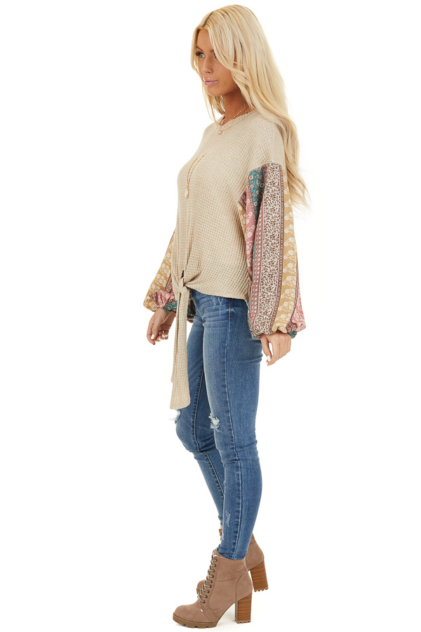 Oatmeal Long Sleeve Top with Contrast Floral Bubble Sleeves side full body