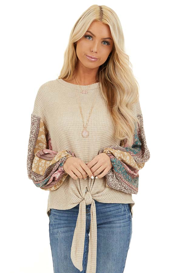 Oatmeal Long Sleeve Top with Contrast Floral Bubble Sleeves front close up