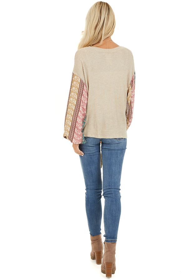 Oatmeal Long Sleeve Top with Contrast Floral Bubble Sleeves back full body