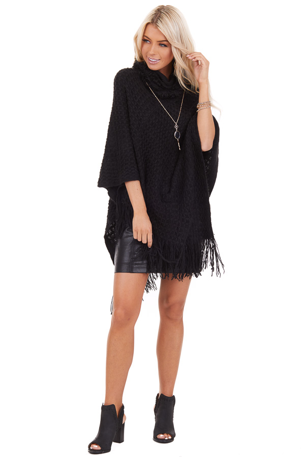 Black Oversized Turtleneck Poncho with Fringe Details front full body
