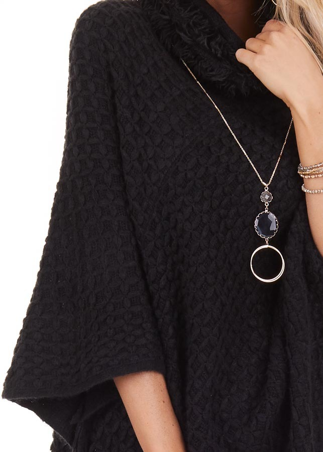 Black Oversized Turtleneck Poncho with Fringe Details detail