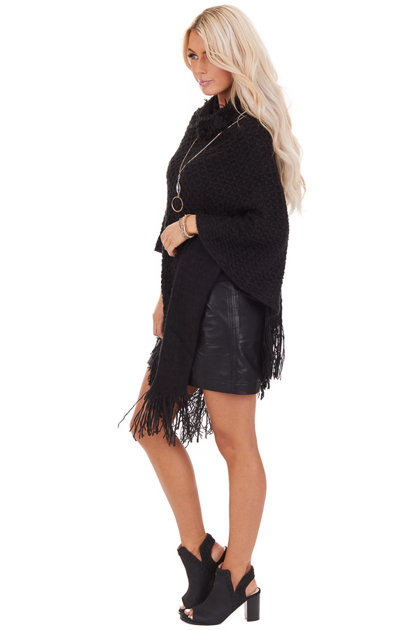 Black Oversized Turtleneck Poncho with Fringe Details side full body