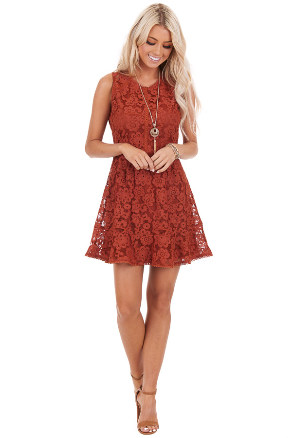 Rust Floral Lace Sleeveless Mini Dress front full body