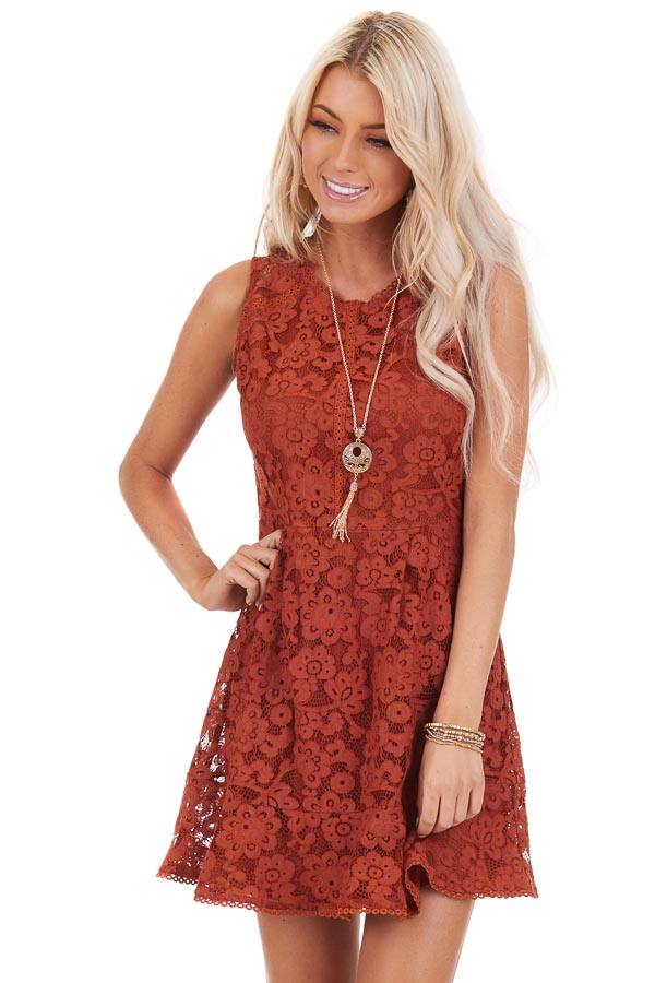 Rust Floral Lace Sleeveless Mini Dress front close up