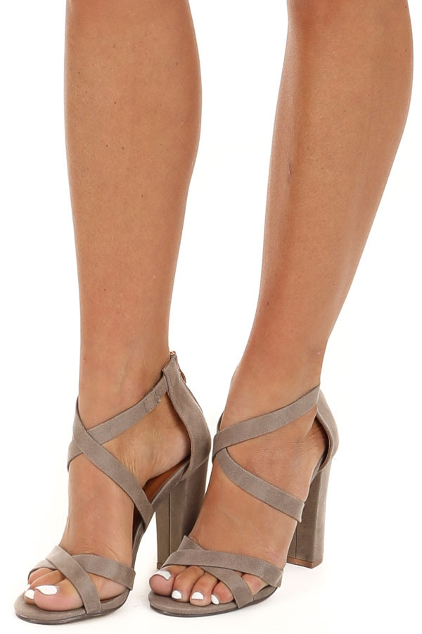 Taupe Criss Cross Strappy High Heels with Zipper Closure side view