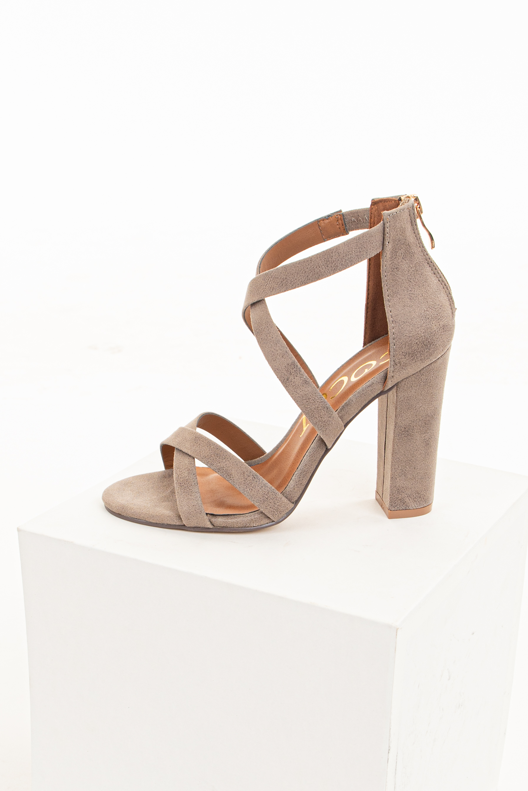 Taupe Criss Cross Strappy High Heels with Zipper Closure