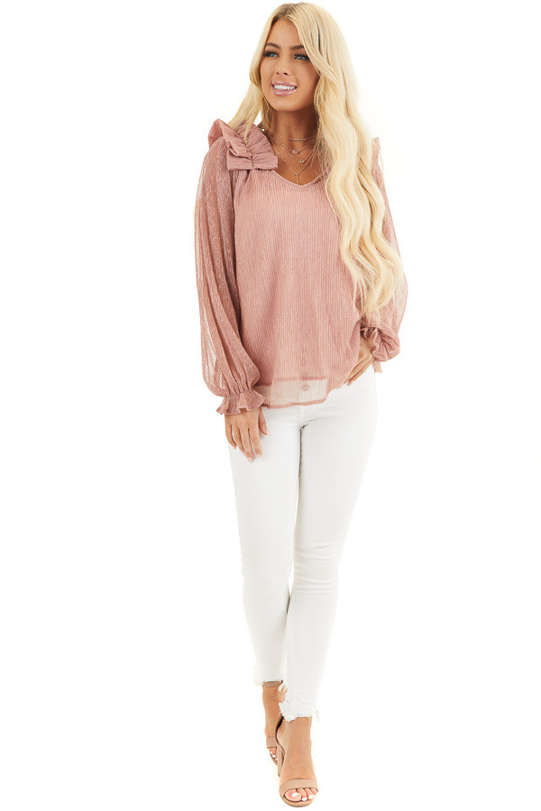 Dusty Rose and Metallic Long Sleeve Top with Ruffle Details front full body