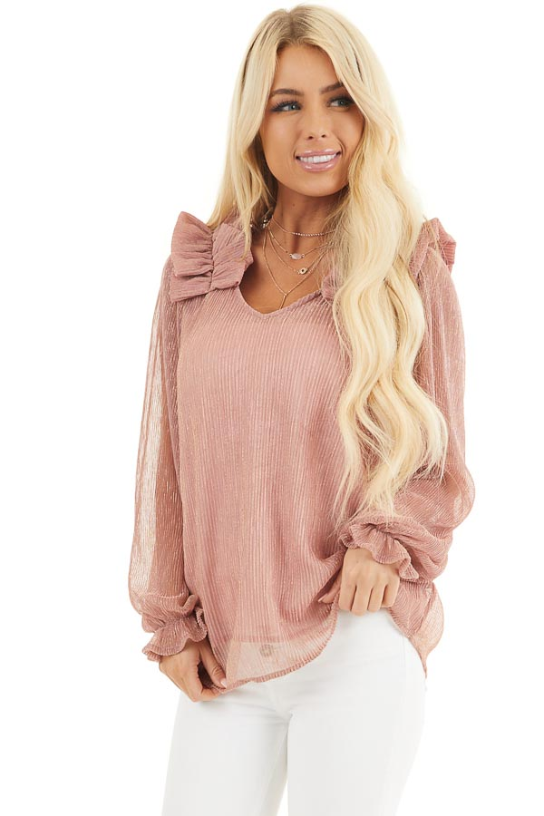 Dusty Rose and Metallic Long Sleeve Top with Ruffle Details front close up
