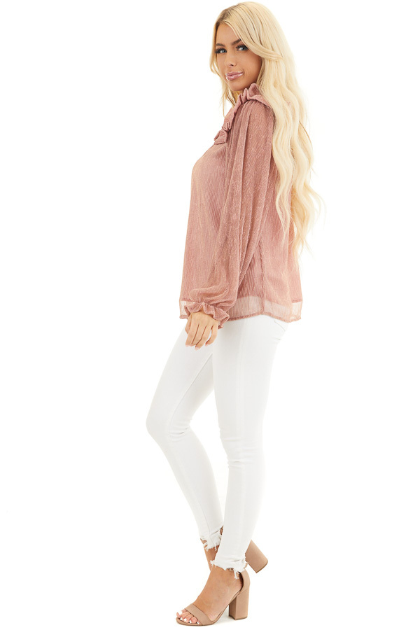 Dusty Rose and Metallic Long Sleeve Top with Ruffle Details side full body