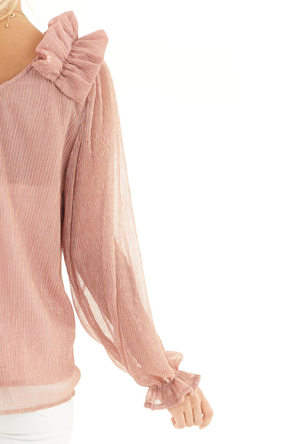 Dusty Rose and Metallic Long Sleeve Top with Ruffle Details detail
