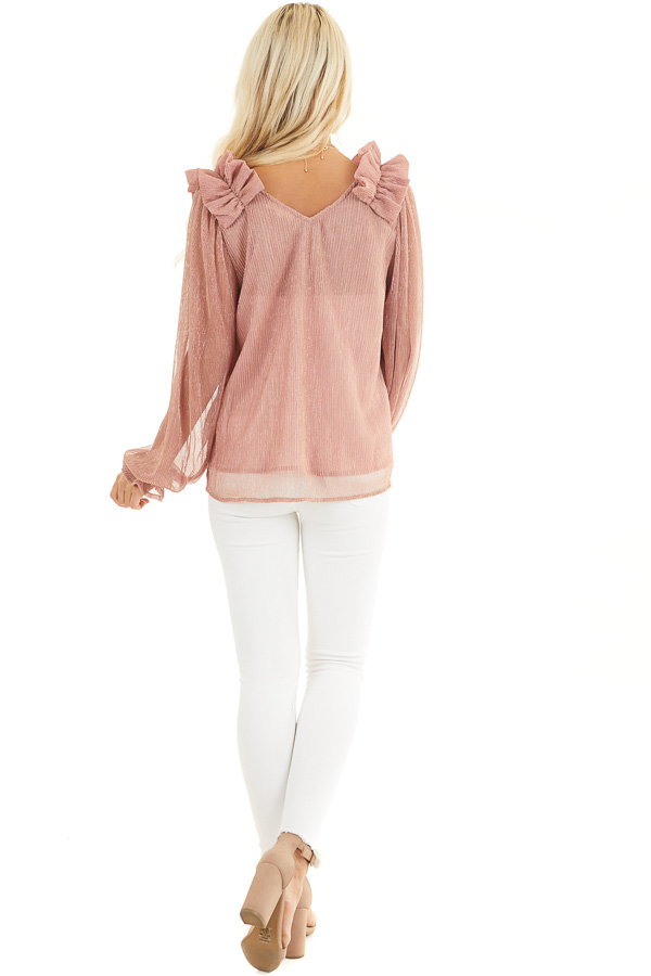 Dusty Rose and Metallic Long Sleeve Top with Ruffle Details back full body
