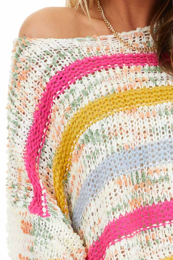 Fuchsia Mustard and Baby Blue Striped Loose Knit Sweater detail