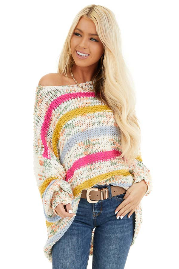 Fuchsia Mustard and Baby Blue Striped Loose Knit Sweater front close up