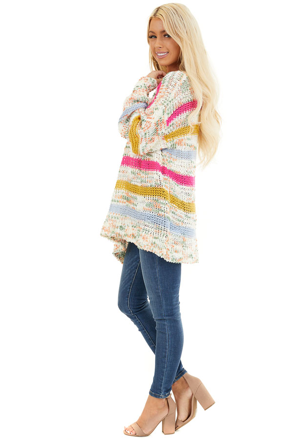 Fuchsia Mustard and Baby Blue Striped Loose Knit Sweater side full body