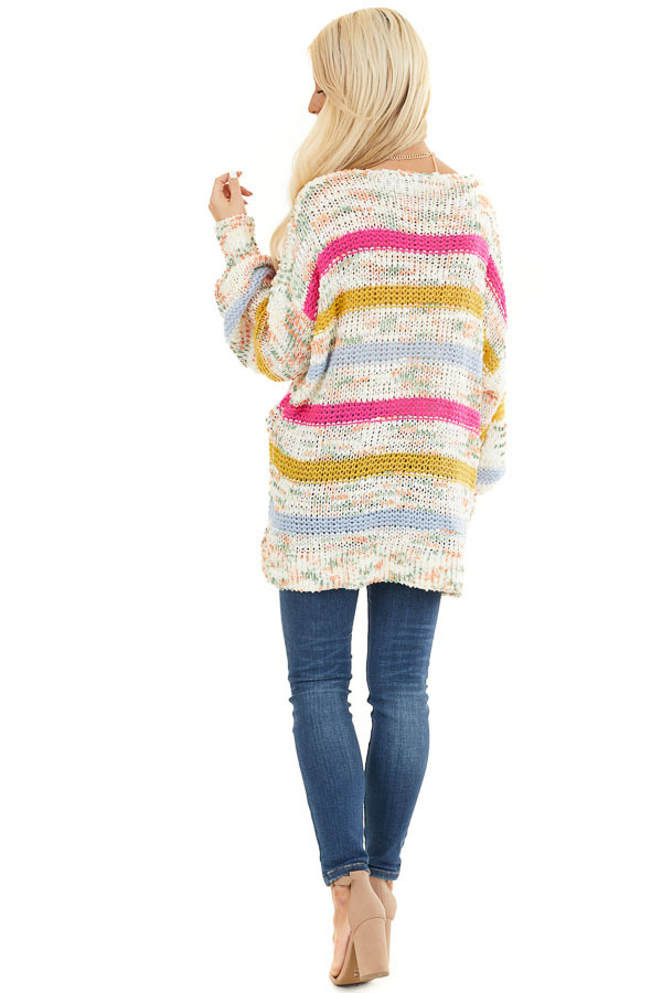 Fuchsia Mustard and Baby Blue Striped Loose Knit Sweater back full body