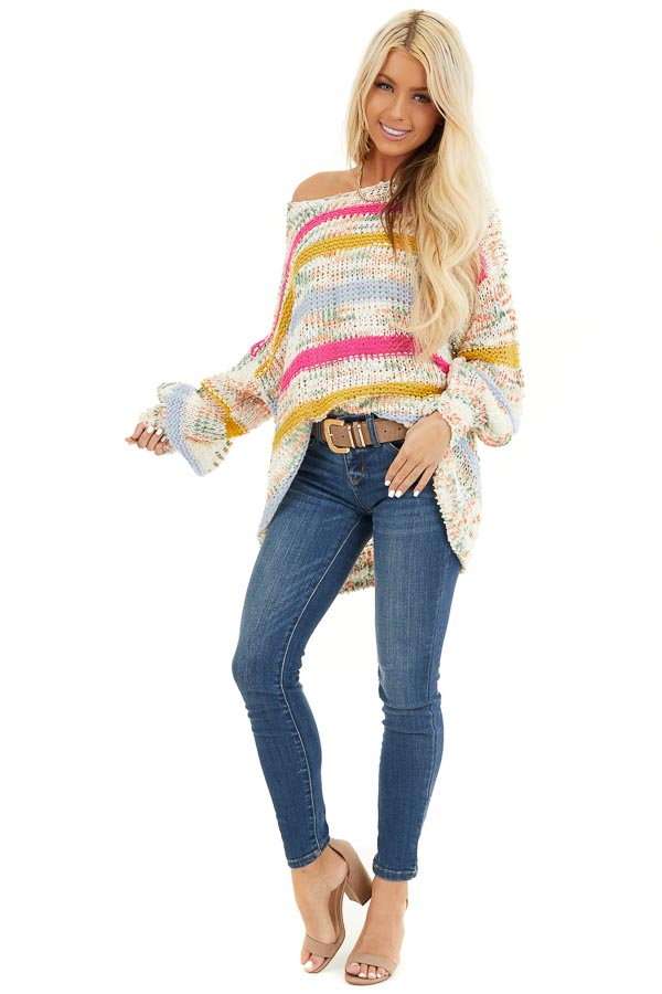 Fuchsia Mustard and Baby Blue Striped Loose Knit Sweater front full body