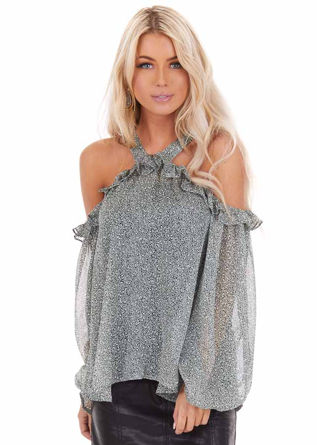 Sage Leopard Print Sheer Cold Shoulder Blouse with Ruffles front close up