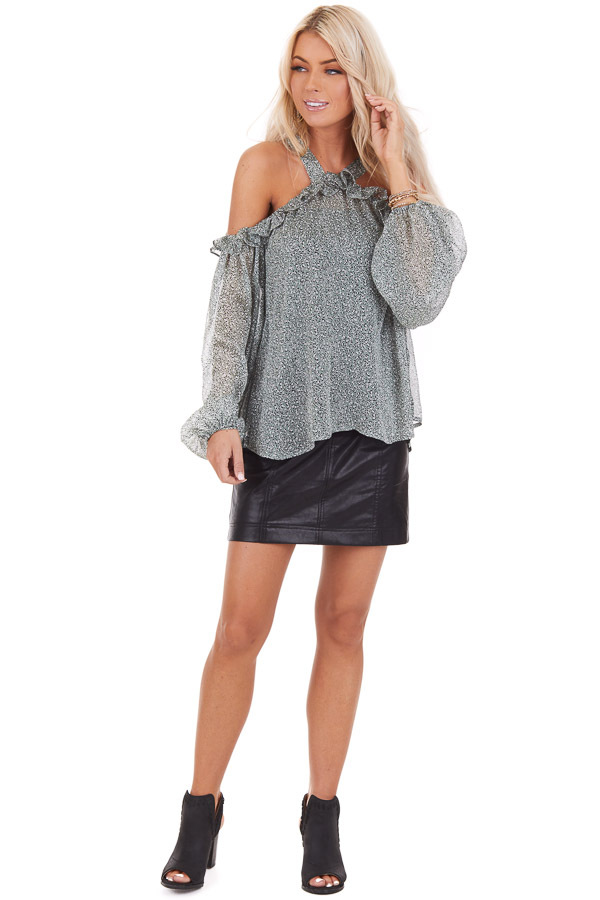 Sage Leopard Print Sheer Cold Shoulder Blouse with Ruffles front full body