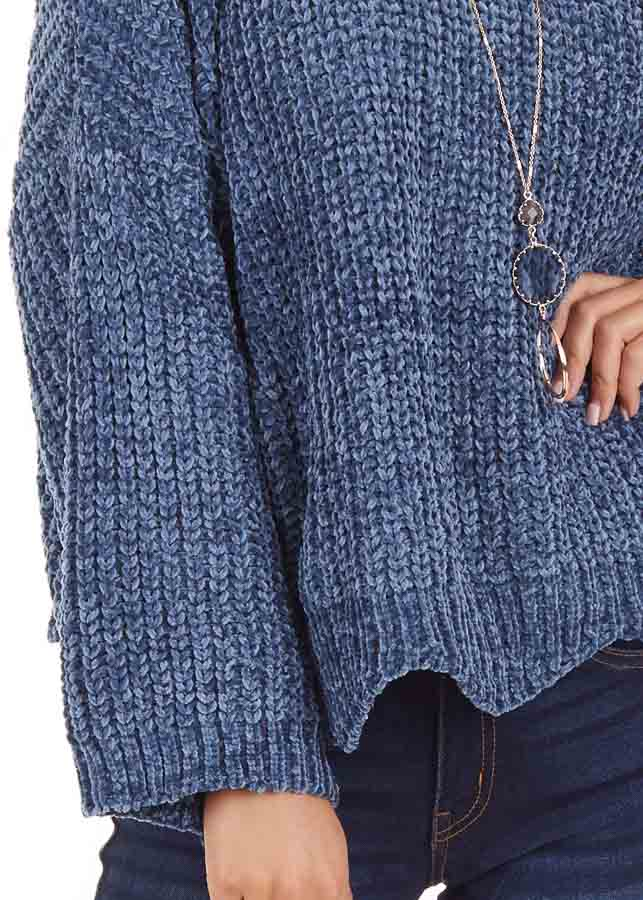 Dusty Blue Chenille Sweater with Scalloped Hemline detail