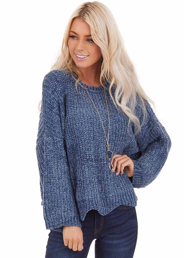 Dusty Blue Chenille Sweater with Scalloped Hemline front close up