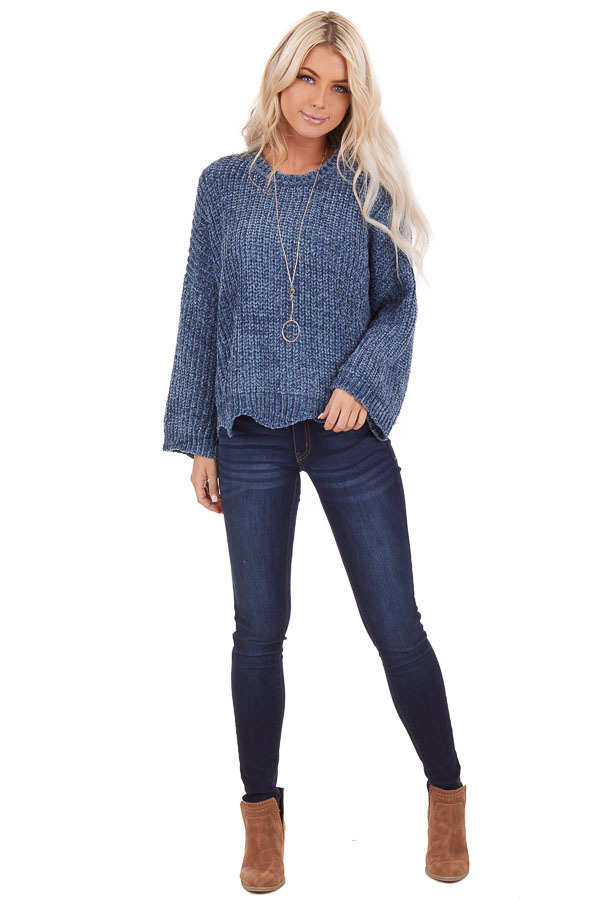 Dusty Blue Chenille Sweater with Scalloped Hemline front full body