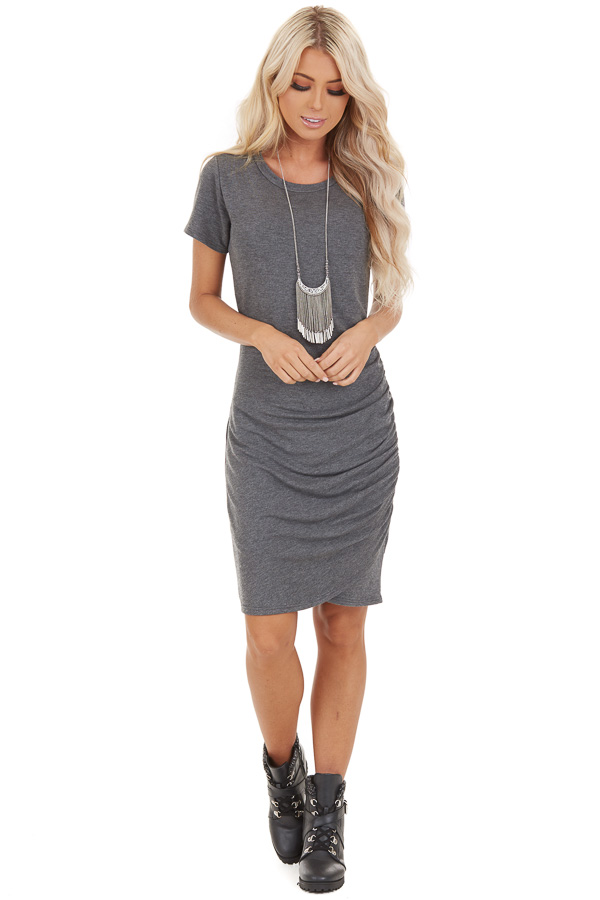 Stone Grey Short Sleeve Mini Dress with Side Ruching front full body