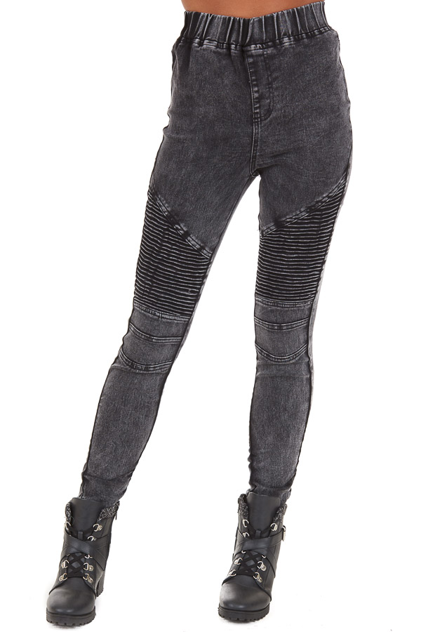 Black Washed Denim Skinny Moto Leggings front view
