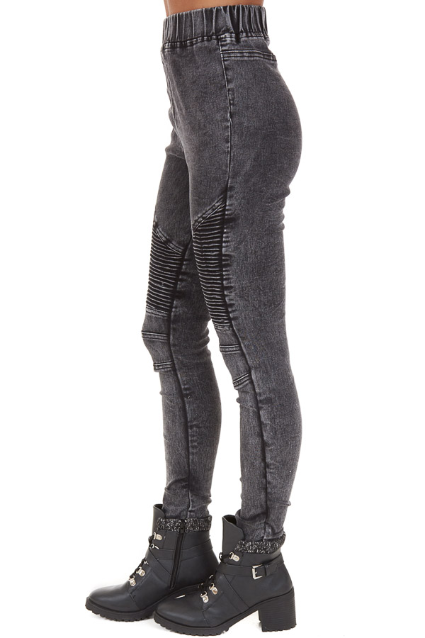 Black Washed Denim Skinny Moto Leggings side view
