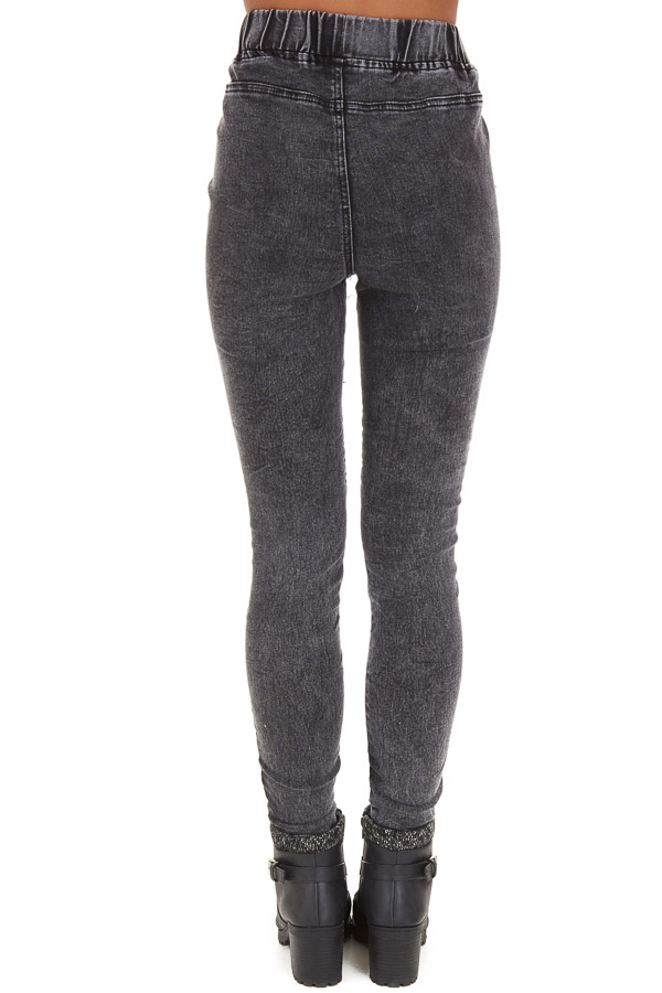 Black Washed Denim Skinny Moto Leggings back view