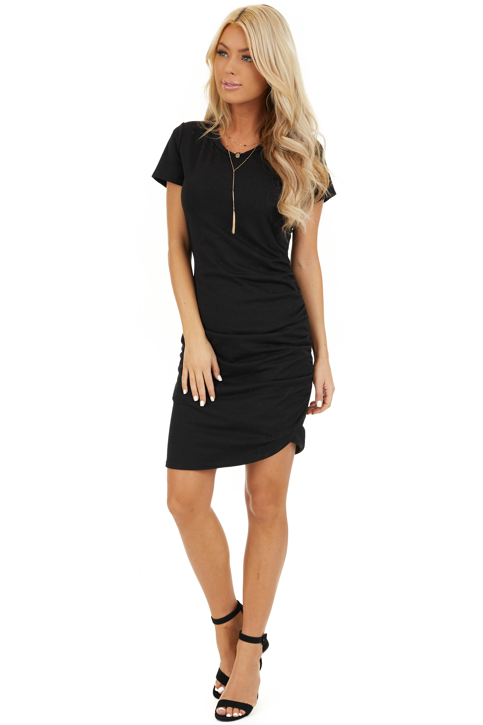 Black Short Sleeve Mini Dress with Side Ruching front full body