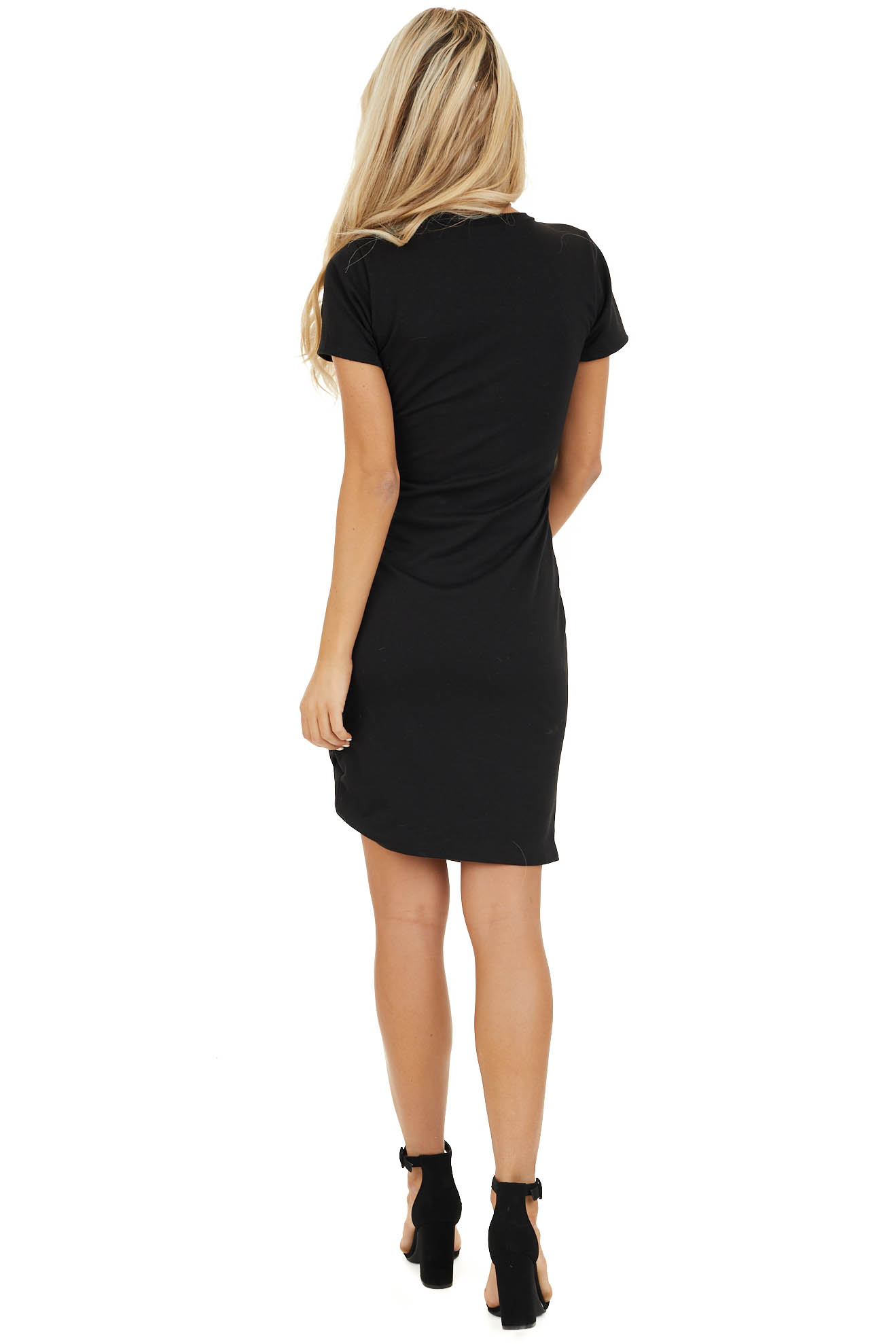 Black Short Sleeve Mini Dress with Side Ruching back full body