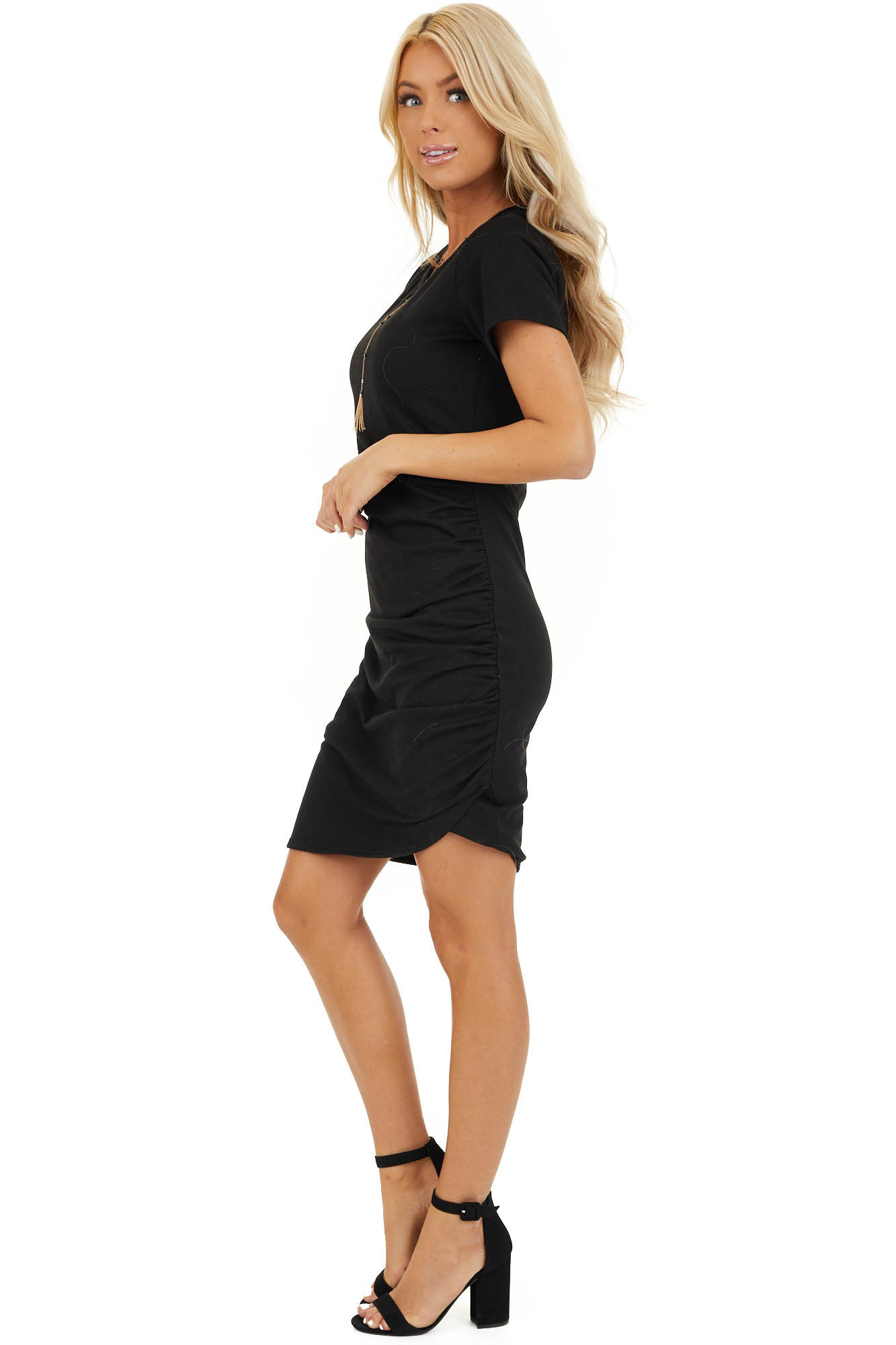 Black Short Sleeve Mini Dress with Side Ruching side full body