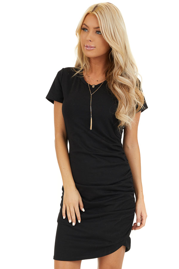 Black Short Sleeve Mini Dress with Side Ruching front close up