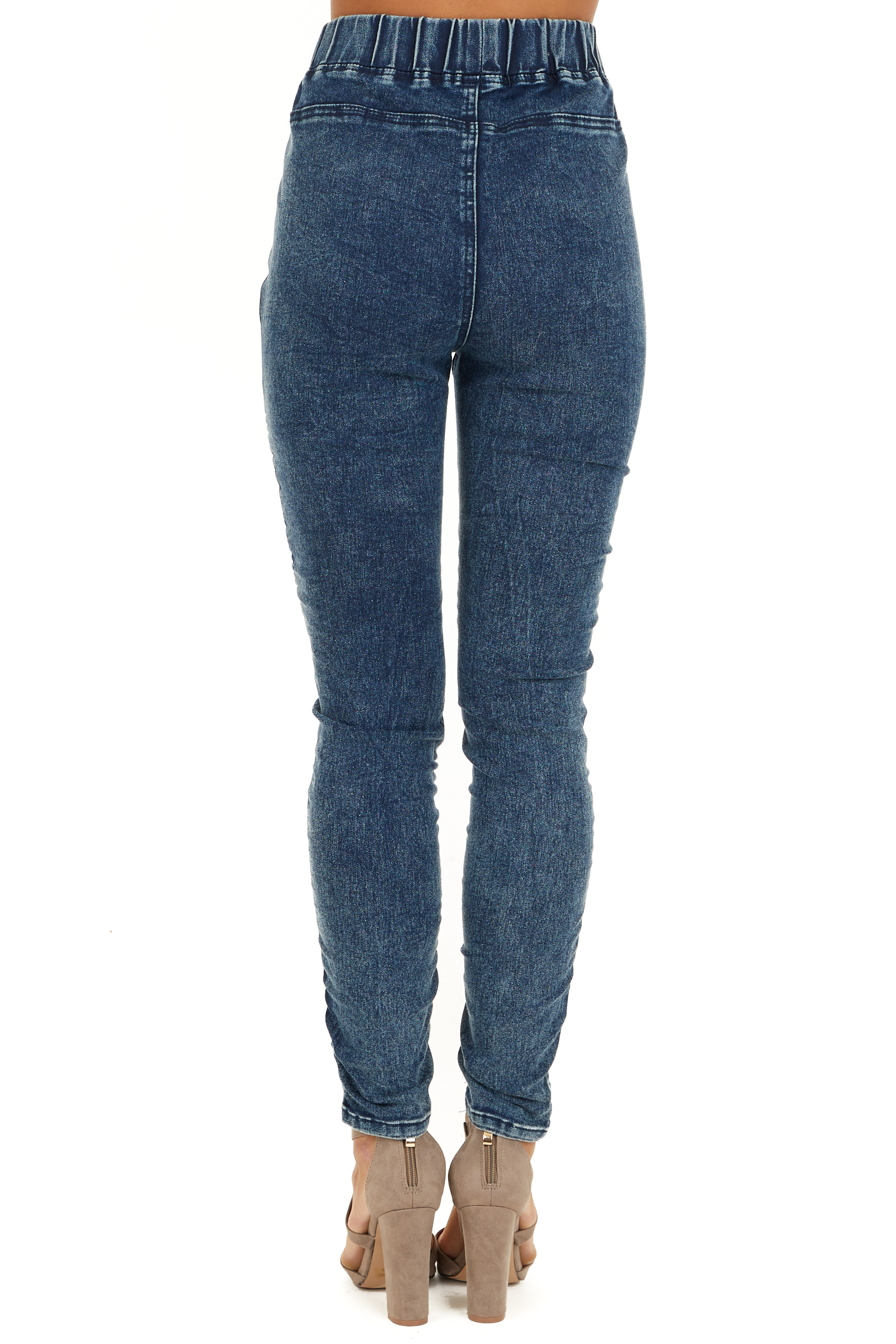 Washed Denim Blue Skinny Moto Leggings back