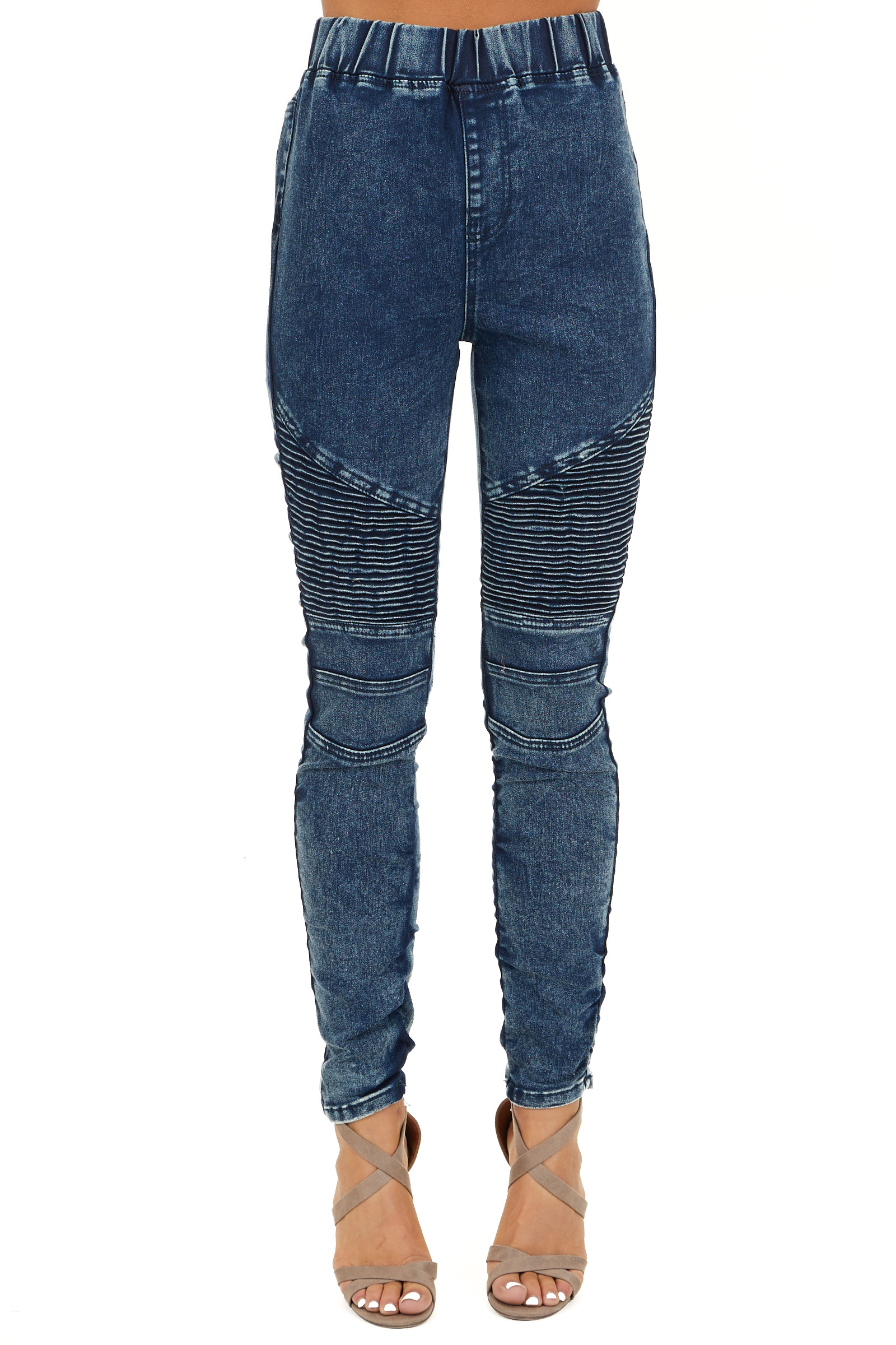 Washed Denim Blue Skinny Moto Leggings front