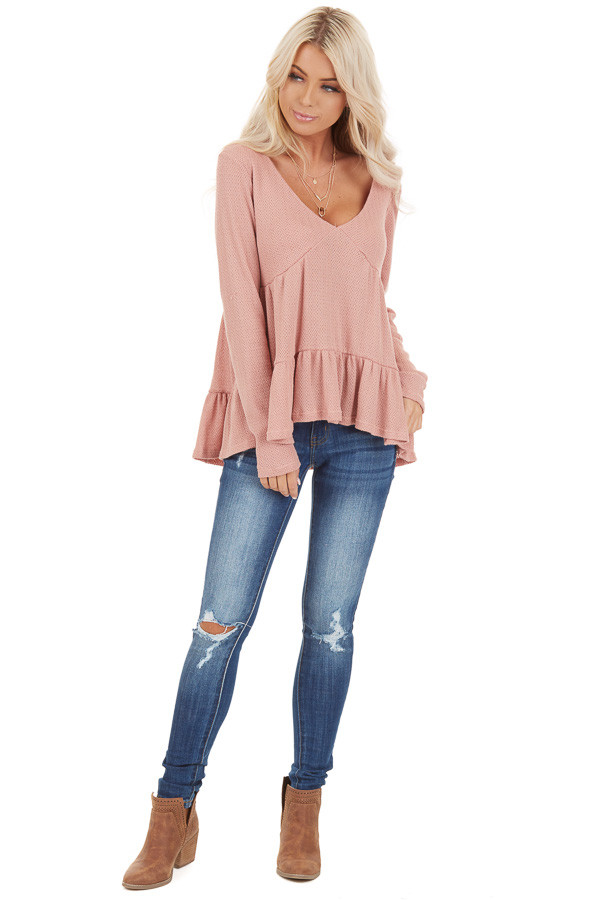 Rose Pink Long Sleeve Tiered Babydoll Top front full body