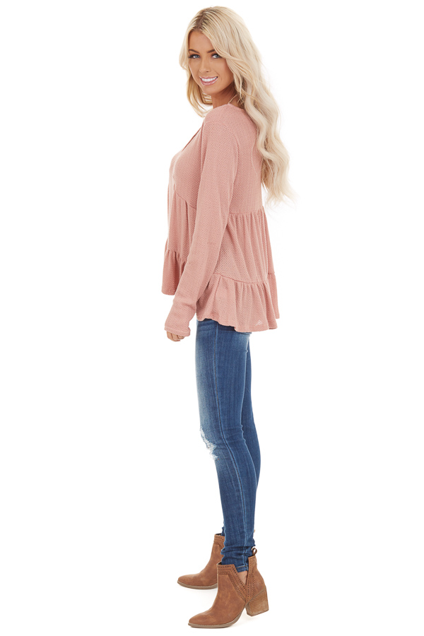 Rose Pink Long Sleeve Tiered Babydoll Top side full body