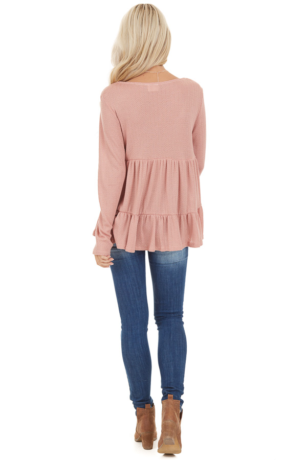 Rose Pink Long Sleeve Tiered Babydoll Top back full body