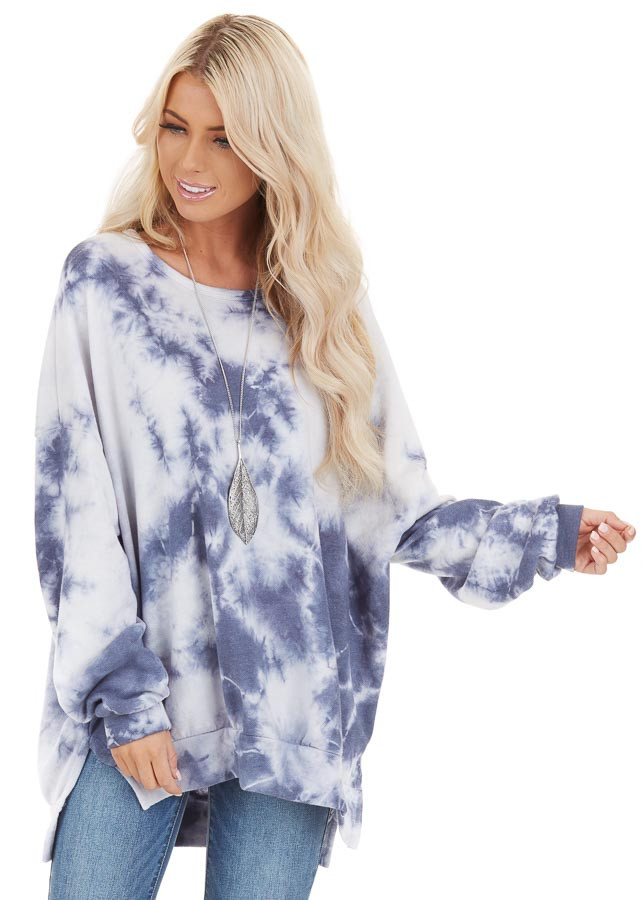 Dusty Blue Tie Dye Long Sleeve Sweater Top with Side Slits front close up