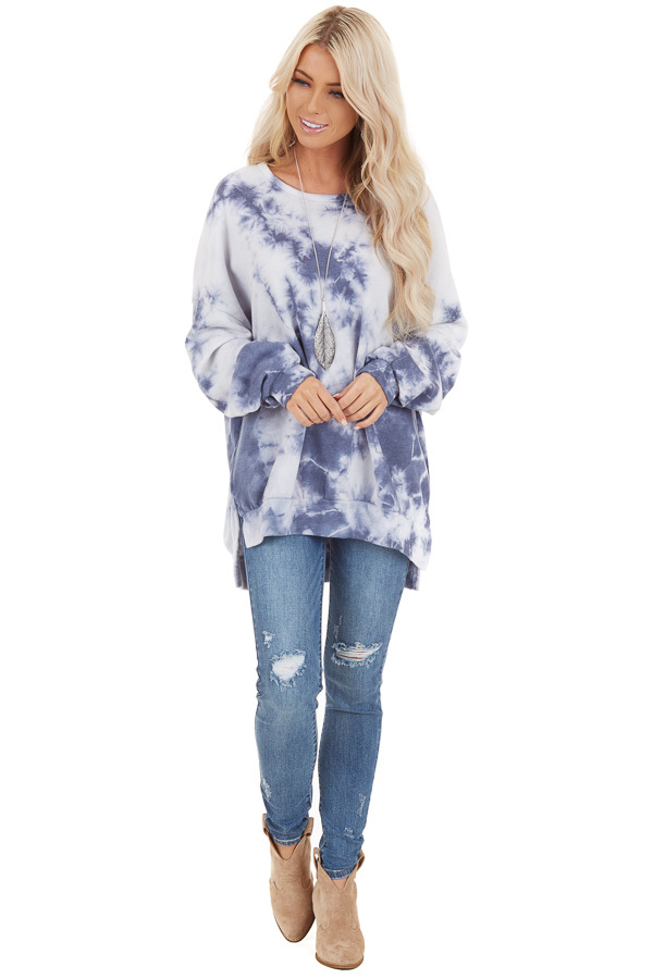 Dusty Blue Tie Dye Long Sleeve Sweater Top with Side Slits front full body