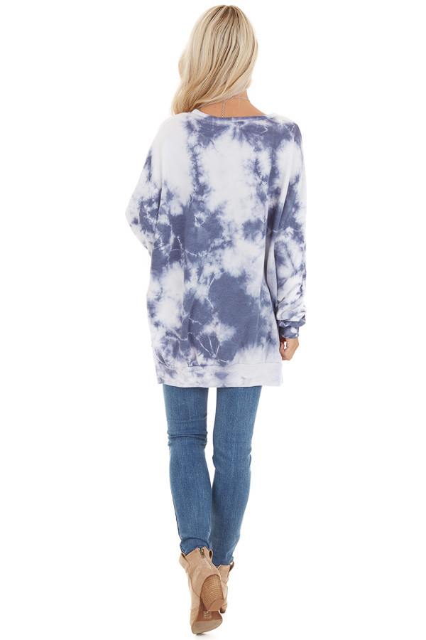 Dusty Blue Tie Dye Long Sleeve Sweater Top with Side Slits back full body