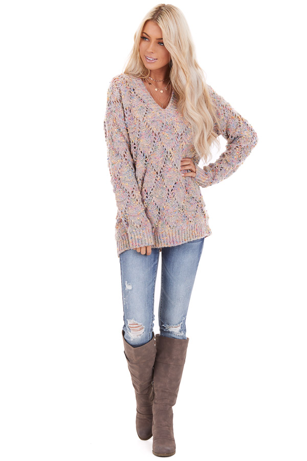 Multi Color Speckled Long Sleeve V Neck Knit Sweater front full body