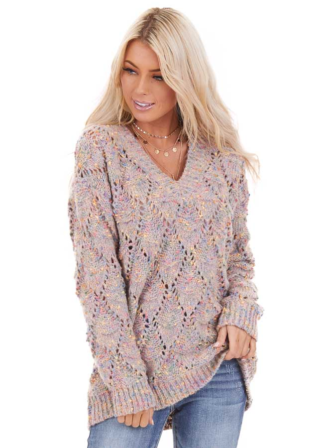 Multi Color Speckled Long Sleeve V Neck Knit Sweater front close up