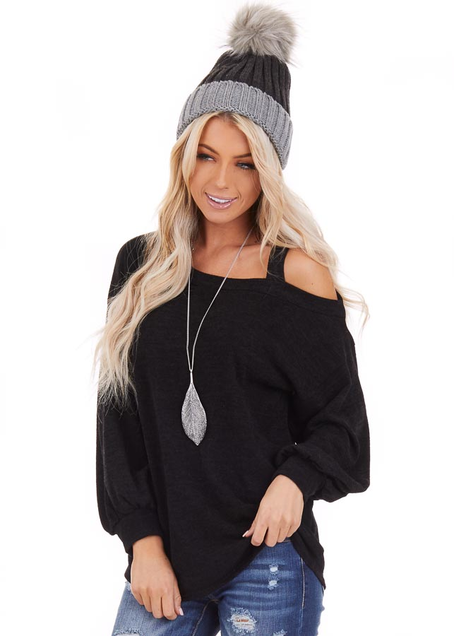 Black Long Sleeve Knit Top with One Cold Shoulder front close up