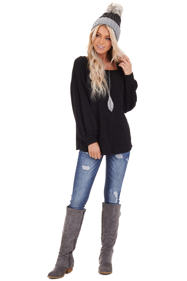 Black Long Sleeve Knit Top with One Cold Shoulder front full body