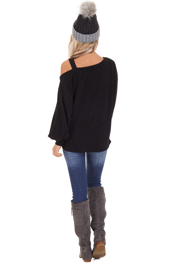 Black Long Sleeve Knit Top with One Cold Shoulder back full body