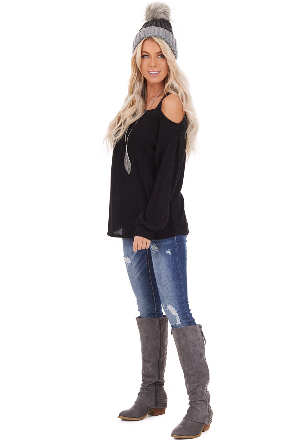 Black Long Sleeve Knit Top with One Cold Shoulder side full body